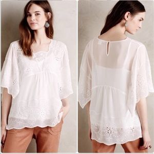 Anthro Meadow Rue White Lace Sheer Blouse Top